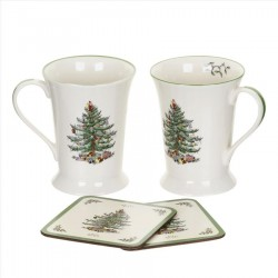 "SPODE ""Christmas Tree"" Set of 2 Mugs & Coasters"