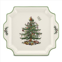 "SPODE ""Christmas Tree"" Square Handled Platter 12.5"""