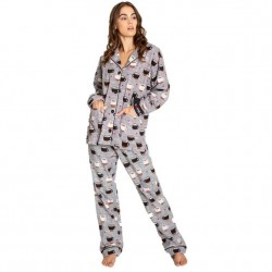 PJ Salvage Flannel Pajama Set - Coffee