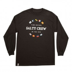 Salty Crew Long Sleeve T - Maritime in Black