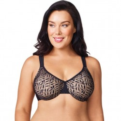 Olga Leaves Underwire Minimizer - Black