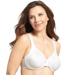 Olga Satin Support Underwire Bra - White
