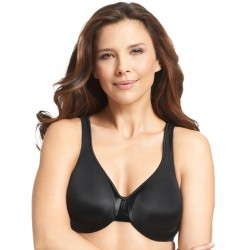 Olga Satin Support Underwire Bra - Black