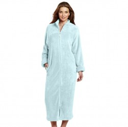 Casual Moments Zip Up Robe - Sky Blue