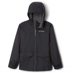 Boys 8 to 20 Columbia Fleece Lined Rain Jacket - Black/Grill