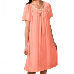 Mid-length Nightgown with Petal Embroidered Detail - Melon