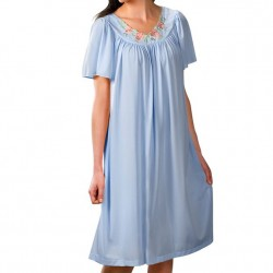 Mid-length Nightgown with Petal Embroidered Detail - Light Blue