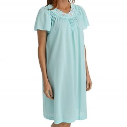 Mid-length Nightgown with Petal Embroidered Detail - Seafoam