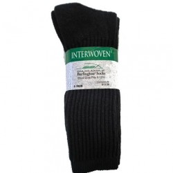 Interwoven 3 pk Cotton Athletic Crew Socks - BLACK Style #7507