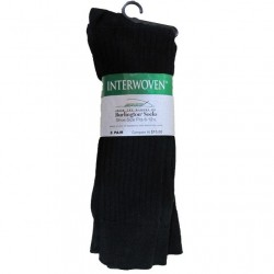 Interwoven 3 pk Cotton Dress Crew Socks - BLACK Style #7516