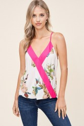 Floral Print Color Block Surplus Tank Top