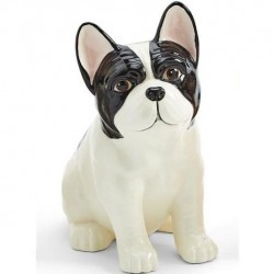 Two's Company Hand Painted Ceramic Vase - Frenchie Dog