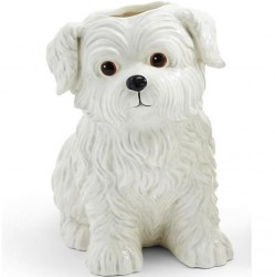 Two's Company Hand Painted Ceramic Vase - Westie Dog