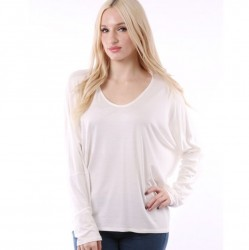Long Sleeve V-Neck Dolman Sleeve Knit Top - Ivory