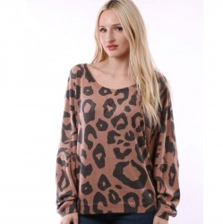 Long Sleeve Animal Print Dolman Sleeve Knit Top - Camel