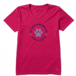 Life is Good V-Neck Tee - My Dog Rescued Me