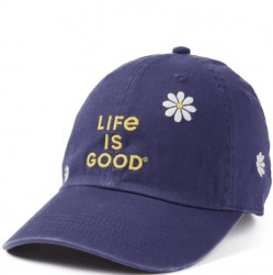 Life is Good Cap - Navy Embroidered Daisies