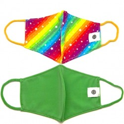 Face Mask 2 Pack - Rainbow and Solid Green