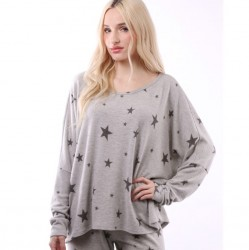 Long Sleeve Star Print Crew Neck Dolman Sleeve Knit Top - Heather Grey
