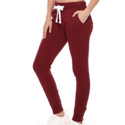 Fleece Jogger Sweatpants with Pockets - Burgundy