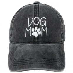 Embroidered Baseball Cap - Dog Mom Black