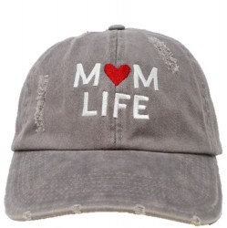 Embroidered Baseball Cap - Mom Life Grey