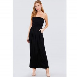 Solid Knit Maxi Dress with Shirred Waist - Black