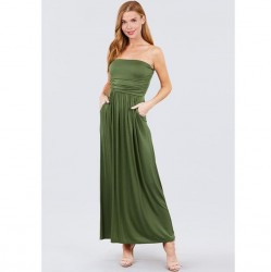 Solid Knit Maxi Dress with Shirred Waist - Avocado Green