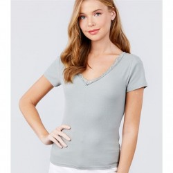 Short Sleeve Double V-Neck Rib Knit Top with Lace Trim - Sage