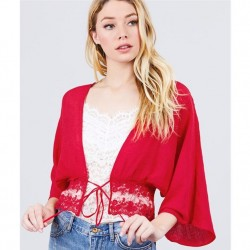 Elbow Sleeve Woven Crop Cardigan with Ribbon Tie - Red