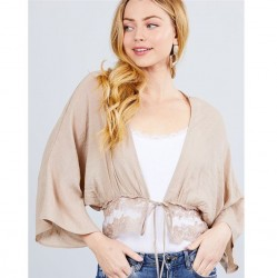 Elbow Sleeve Woven Crop Cardigan with Ribbon Tie - Khaki