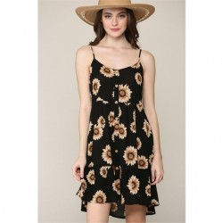 Floral Print Flowy Woven Tiered Dress - Black