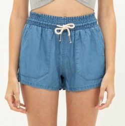 Tencel Elastic Waist Shorts with Front and Back Pockets and Contrast Drawstring Waist - Blue