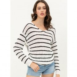 Long Dolman Sleeve Allover Striped Knit Sweater with Twisted Back Detail - White/Black