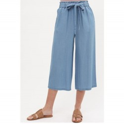 Soft Tencel Wide Leg Relaxed Fit Crop Pant with Adjustable Self-Tie - Blue