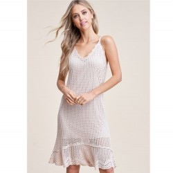 Solid Crochet Midi Dress With Adjustable Back Tie - Natural