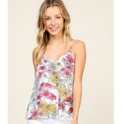 Floral Print Woven Tank with Adjustable Straps - Off White