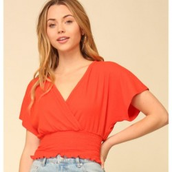Solid Short Drop Sleeve Ribbed Knit V-Neck Top with Smocked Waist - Coral