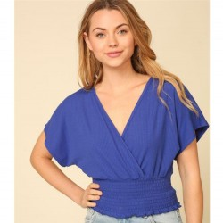 Solid Short Drop Sleeve Ribbed Knit V-Neck Top with Smocked Waist - Royal