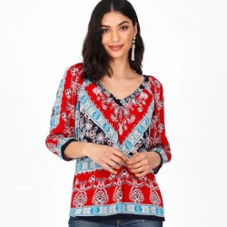 3/4 Sleeve Border Print Peasant Blouse