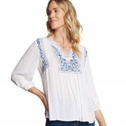Elbow Sleeve Top with Blue Embroidered Yoke