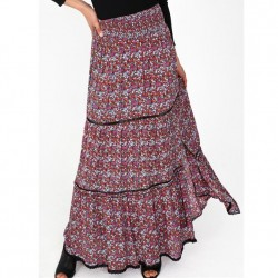 Tiered Maxi Skirt with Slit