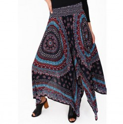 Printed Hankerchief Hem Long Skirt