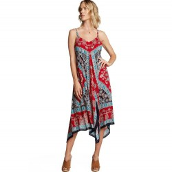 Border Print Cami Midi Dress