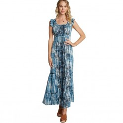 Border Print Maxi Dress with Cap Sleeves