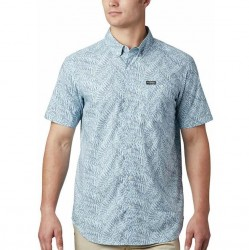 Columbia Printed Cotton Short Sleeve Shirt - Sky Blue
