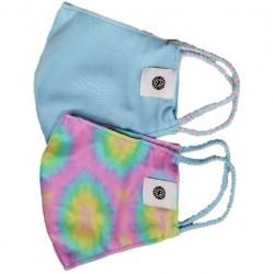 Face Mask 2 Pack - Purple Tie Dye and Light Blue Solid