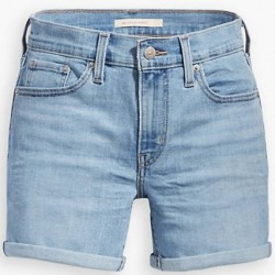 Levi's Mid-Length Denim Shorts with Roll Cuff - Oahu Clouds