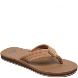 Quiksilver Carver Suede Leather Flip Flop - Tan