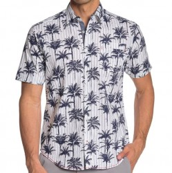 Burnside Short Sleeve Shirt - White with Navy Palm Trees